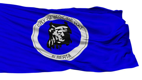 Isolated Medicine Hat Alberta city flag, Canada Animation