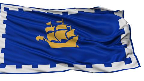 Isolated Quebec City city flag, Canada Animation