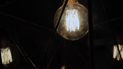 Incandescent lamp in the plafone on the wall Footage