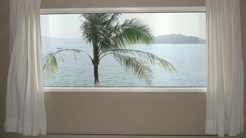 View from window in room hotel palm tree on background blue sea water and hills Footage