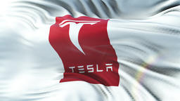 Tesla Motors flag waving on sun. Seamless loop with highly detailed fabric Animation