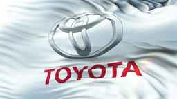 Toyota flag waving on sun. Seamless loop with highly detailed fabric texture Animation