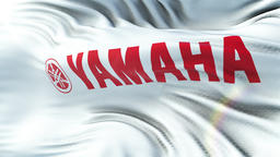 Yamaha flag waving on sun. Seamless loop with highly detailed fabric texture Animation