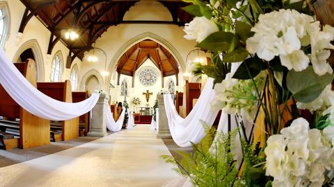 shot of a wedding venue or chapel, Live Action