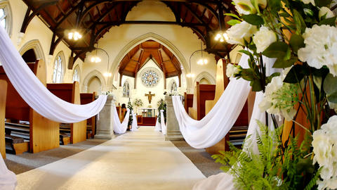 shot of a wedding venue or chapel Live Action