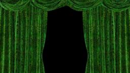 Green velvet curtains with beautiful unique pattern. ULR Animación
