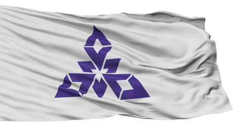 Isolated Fukuoka city flag, prefecture City, Japan Animation