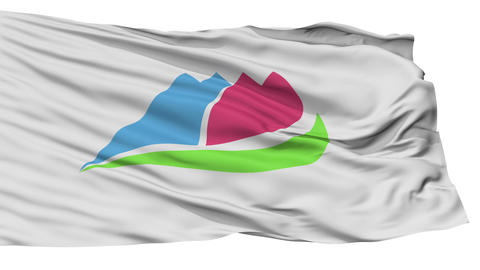 Isolated Ina city flag, prefecture City, Japan Animation