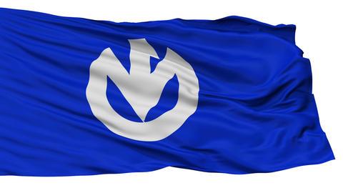 Isolated Kaminoyama city flag, prefecture Yamagata, Japan Animation