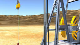 Oil drilling.oil drum on cycle ground.(included alpha) Footage