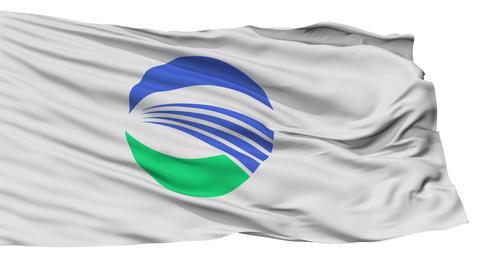 Isolated Sakata city flag, prefecture Yamagata, Japan Animation