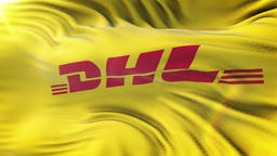 DHL flag waving on sun. Seamless loop with highly detailed fabric texture. Loop Animation