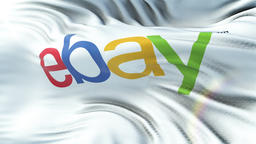 EBAY flag waving on sun. Seamless loop with highly detailed fabric texture. Loop Animation