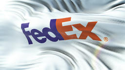FEDEX flag waving on sun. Seamless loop with highly detailed fabric texture Animation