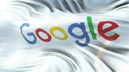 GOOGLE flag waving on sun. Seamless loop with highly detailed fabric texture 애니메이션