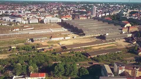Aerial view of Leipzig Hauptbahnhof or city central railway station, Germany Footage