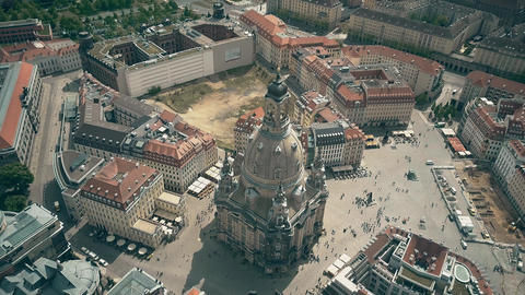 Aerial view of the famous Frauenkirshe or Church of Our Lady and Neumarkt square 영상물