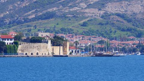 Traditional Turkish Houses, Travel Destination Around Foca Castle, Turkey stock footage