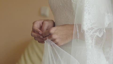 Bride is nervous being keeps her hands clasped 7 Footage