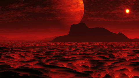 Lava On The Planet Of Aliens And A Huge Moon stock footage