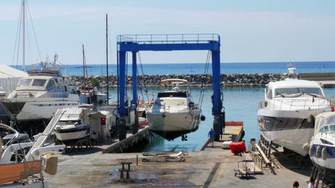 timelapse, yatch dock boat repair marina, kusadasi, turkey Footage