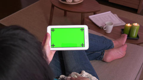 Ipad Tablet Green Screen Monitor Pc Computer Electronics Woman People Live Action