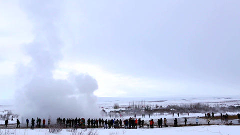 Visitors at the geyser eruption of Strokkur, Iceland Footage
