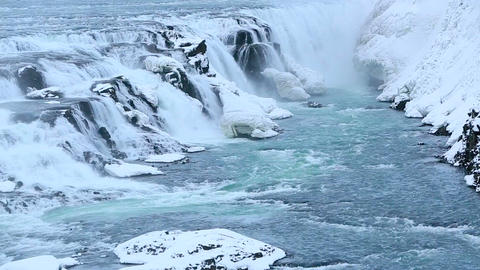 Waterfall Gullfoss in winter with audio Footage