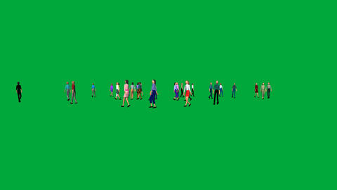 Crowd Wandering on Green Screen: + Matte Animation