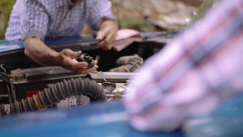 4-Grandfather Fixing Vintage Car Engine With Preteen Grandson Footage