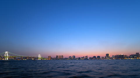 Timelapse - Night view of Tokyo Bay Area Archivo