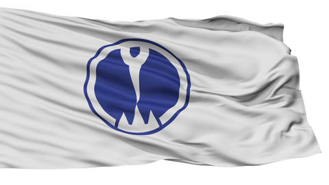 Isolated Tsuruoka city flag, prefecture Yamagata, Japan Animation
