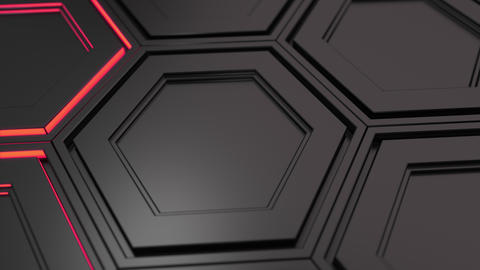 Wall of black hexagons with red glow Animación