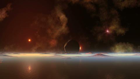 Bloody Sunset on Alien Planet Animation