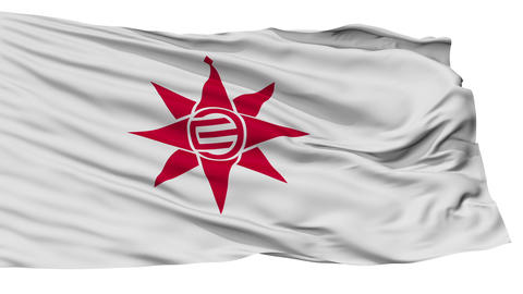 Isolated Yokosuka city flag, prefecture Kanagawa, Japan Animation