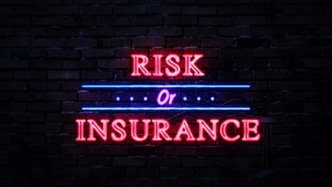 Risk or Insurance Neon Sign Stock Video Footage
