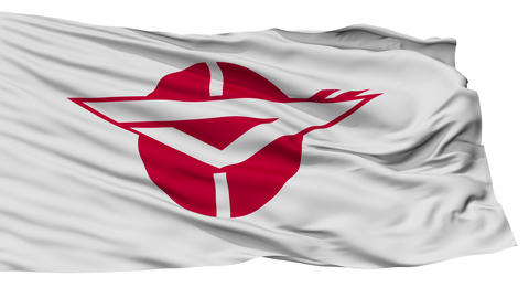 Isolated Zama city flag, prefecture Kanagawa, Japan Animation