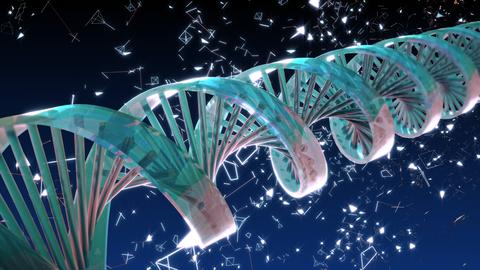 Background with rotating abstract DNA. 3D rendering フォト