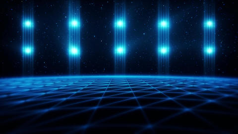 3D Blue Matrix Landscape in Cyberspace VJ Loop Background Animation