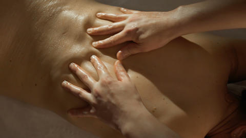 Process of making massage with oil Footage