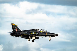 Anglesey / Wales - April 26 2018 : British Aerospace Hawk T.2 landing at Fotografía