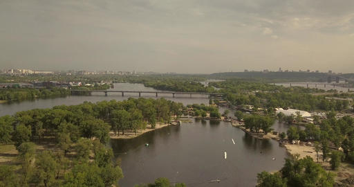 Aerial View. Flight over the river overlooking the water amusement park Footage