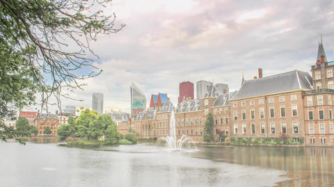 The Hague, Netherlands- Financial District and Binnenhof Skyline Hyperlapse Footage