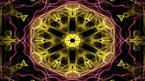 Live red and yellow fractal mandala, video tunnel on black background. Animated Animation