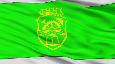 Closeup Gabrovo city flag, Bulgaria Animation