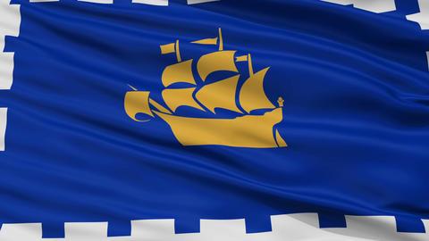 Closeup Quebec City city flag, Canada Animation