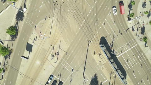 Aerial top down view of major city streets intersection in Leipzig Footage