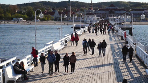 People On The Pier In Sopot, Poland 영상물