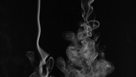 Beautiful twists of white smoke on a black background Footage