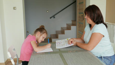 Mother Is Homeschooling Her Daughter 02 Footage